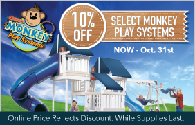 10% Off Select Monkey Play Systems